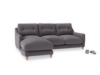 Large left hand Slim Jim Chaise Sofa in Graphite grey clever cotton