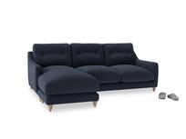 Large left hand Slim Jim Chaise Sofa in Indigo vintage linen