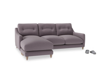 Large left hand Slim Jim Chaise Sofa in Lavender brushed cotton