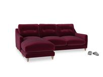 Large left hand Slim Jim Chaise Sofa in Merlot Plush Velvet