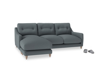 Large left hand Slim Jim Chaise Sofa in Meteor grey clever linen