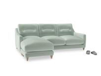Large left hand Slim Jim Chaise Sofa in Mint clever velvet