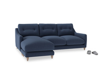 Large left hand Slim Jim Chaise Sofa in Navy blue brushed cotton