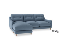 Large left hand Slim Jim Chaise Sofa in Nordic blue brushed cotton