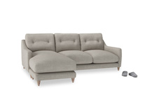 Large left hand Slim Jim Chaise Sofa in Grey Daybreak Clever Laundered Linen