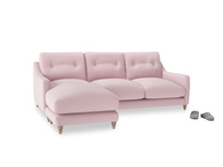 Large left hand Slim Jim Chaise Sofa in Pale Rose vintage linen
