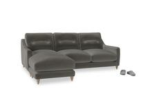 Large left hand Slim Jim Chaise Sofa in Slate clever velvet