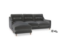 Large left hand Slim Jim Chaise Sofa in Steel clever velvet