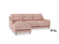 Large left hand Slim Jim Chaise Sofa in Pale Pink Clever Woolly Fabric