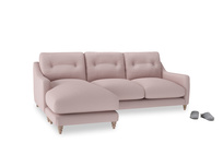 Large left hand Slim Jim Chaise Sofa in Potter's pink Clever Linen