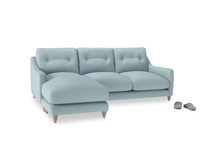 Large left hand Slim Jim Chaise Sofa in Powder Blue Clever Softie