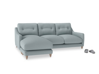 Large left hand Slim Jim Chaise Sofa in Quail's egg clever linen