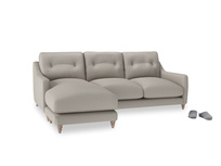 Large left hand Slim Jim Chaise Sofa in Sailcloth grey Clever Woolly Fabric