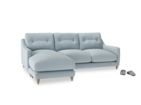 Large left hand Slim Jim Chaise Sofa in Scandi blue clever cotton