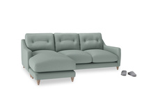 Large left hand Slim Jim Chaise Sofa in Sea fog Clever Woolly Fabric