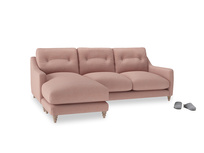 Large left hand Slim Jim Chaise Sofa in Tuscan Pink Clever Softie