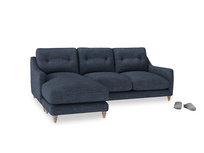 Large left hand Slim Jim Chaise Sofa in Selvedge Blue Clever Laundered Linen