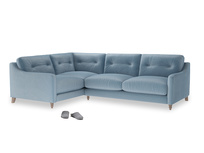 Large Left Hand Slim Jim Corner Sofa in Chalky blue vintage velvet