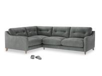 Large Left Hand Slim Jim Corner Sofa in Faded Charcoal beaten leather