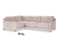 Large Left Hand Slim Jim Corner Sofa in Faded Pink brushed cotton