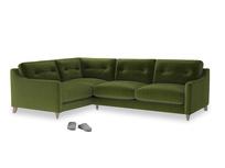 Large Left Hand Slim Jim Corner Sofa in Good green Clever Deep Velvet