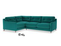Large Left Hand Slim Jim Corner Sofa in Indian green Brushed Cotton