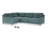 Large Left Hand Slim Jim Corner Sofa in Marine washed cotton linen