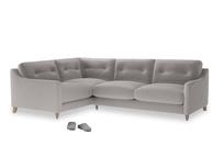 Large Left Hand Slim Jim Corner Sofa in Mouse grey Clever Deep Velvet