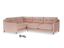 Large Left Hand Slim Jim Corner Sofa in Pale Pink Clever Woolly Fabric