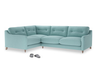 Large Left Hand Slim Jim Corner Sofa in Adriatic washed cotton linen