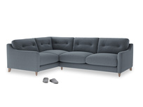 Large Left Hand Slim Jim Corner Sofa in Blue Storm washed cotton linen