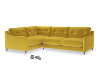 Large Left Hand Slim Jim Corner Sofa in Bumblebee clever velvet