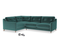 Large Left Hand Slim Jim Corner Sofa in Real Teal clever velvet