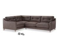 Large Left Hand Slim Jim Corner Sofa in Dark Chocolate beaten leather