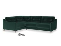 Large Left Hand Slim Jim Corner Sofa in Dark green Clever Velvet