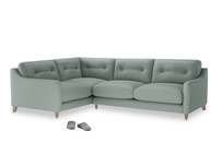 Large Left Hand Slim Jim Corner Sofa in Sea fog Clever Woolly Fabric