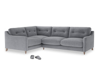 Large Left Hand Slim Jim Corner Sofa in Dove grey wool