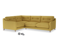 Large Left Hand Slim Jim Corner Sofa in Easy Yellow Clever Woolly Fabric