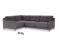 Large Left Hand Slim Jim Corner Sofa in Graphite grey clever cotton