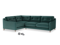 Large Left Hand Slim Jim Corner Sofa in Timeless teal vintage velvet