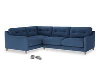 Large Left Hand Slim Jim Corner Sofa in True blue Clever Linen
