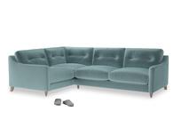 Large Left Hand Slim Jim Corner Sofa in Lagoon clever velvet