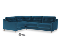 Large Left Hand Slim Jim Corner Sofa in Twilight blue Clever Deep Velvet