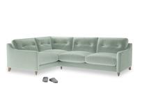 Large Left Hand Slim Jim Corner Sofa in Mint clever velvet