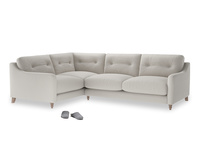 Large Left Hand Slim Jim Corner Sofa in Moondust grey clever cotton
