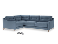 Large Left Hand Slim Jim Corner Sofa in Nordic blue brushed cotton