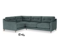 Large Left Hand Slim Jim Corner Sofa in Anchor Grey Clever Laundered Linen