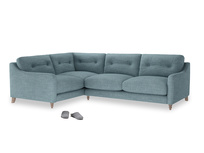 Large Left Hand Slim Jim Corner Sofa in Soft Blue Clever Laundered Linen