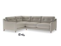Large Left Hand Slim Jim Corner Sofa in Smoky Grey clever velvet