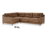 Large Left Hand Slim Jim Corner Sofa in Walnut beaten leather